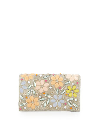 Be Beaded Floral Clutch, Multi