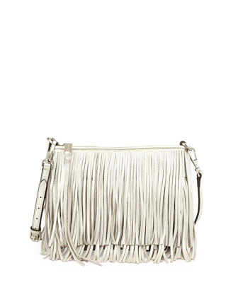 Finn Metallic Fringe Crossbody Bag, Silver