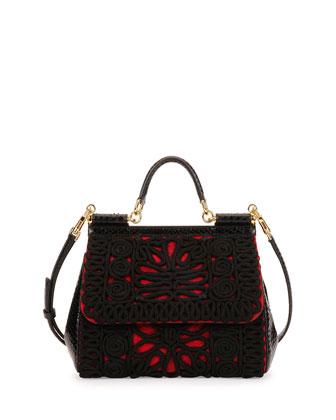 Miss Sicily Embroidered Snake Satchel Bag, Red/Black