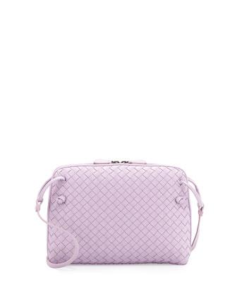 Small Pillow Woven Crossbody Bag, Lavender