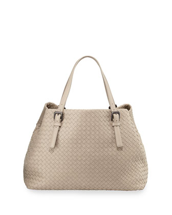Large Double-Strap A-Shape Tote Bag, Light Gray