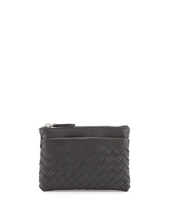 Zip-Top Woven Leather Key Pouch, Ardoise Dark Gray