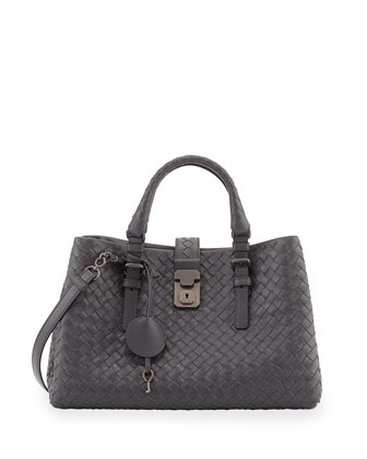 Roma Mini Woven Compartment Tote Bag, Ardoise Dark Gray