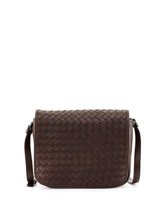 Small Woven Flap Crossbody Bag, Dark Brown