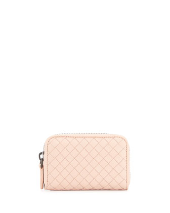 Woven Mini Zip-Around Wallet, Flamingo Light Pink