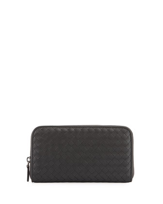 Intrecciato Continental Zip-Around Wallet, Ardoise Dark Gray