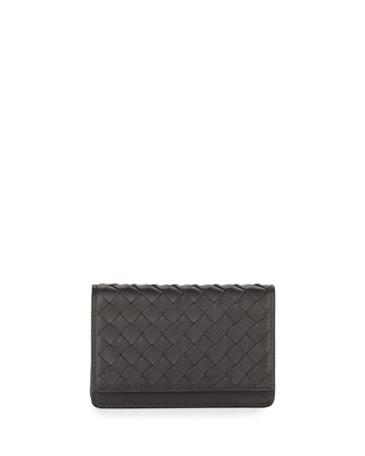 Woven Flap Credit Card Case, Ardoise Dark Gray