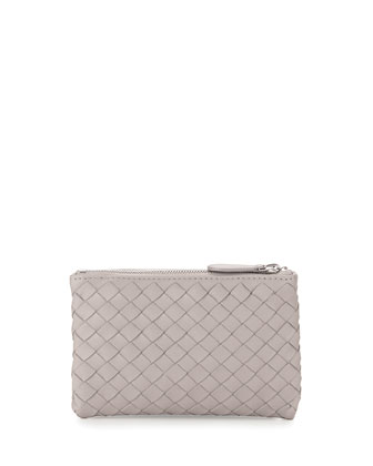 Zip-Top Woven Leather Key Pouch, New Sand Light Gray