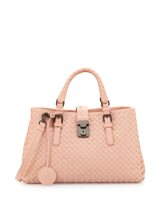 Roma Mini Woven Compartment Tote Bag, Flamingo Light Pink