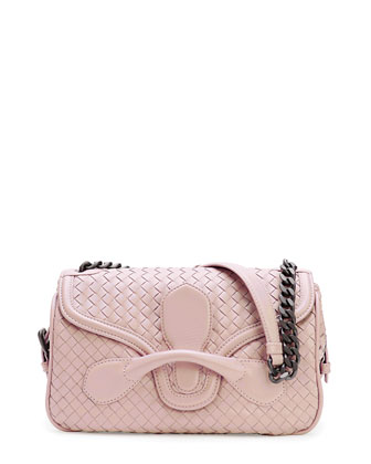 Medium Intrecciato Flap Shoulder Bag, Flamingo Light Pink