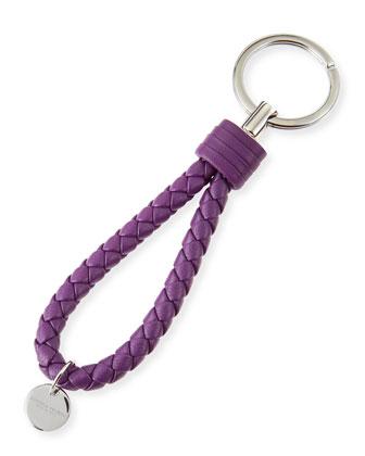 Intrecciato Leather Loop Key Chain, Purple