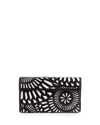 Crocodile Clutch Bag w/ Cutout Overlay, Black/White