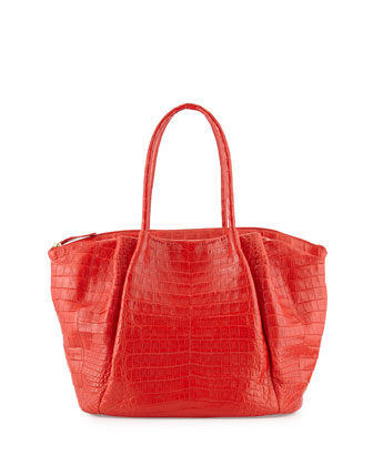 Crocodile Large New Tote Bag, Red Matte