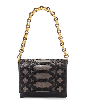 Crocodile Overlay Shoulder Bag, Black/Anthracite