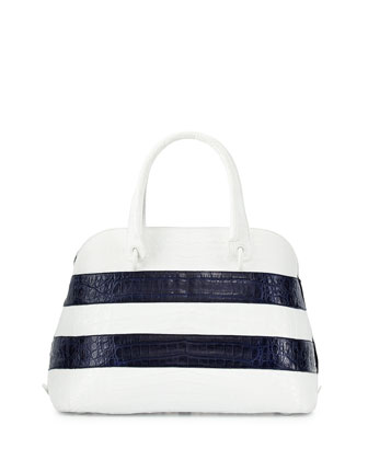 Crocodile Striped Medium Dome Satchel Bag, White/Navy