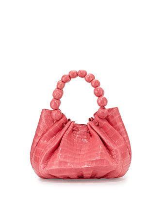 Crocodile Small Ball-Handle Tote Bag, Light Pink