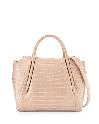 Crocodile Medium New Satchel Bag, Nude Matte