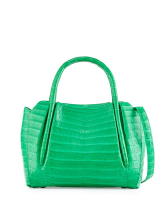Crocodile Medium New Satchel Bag, Leaf Green Matte