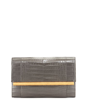 Crocodile Two-Tone Bar Clutch Bag, Dark Gray/Gold
