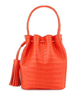 Medium Crocodile Tassel Bucket Bag, Red