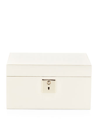 Panama Single-Tray Jewelry Box, White
