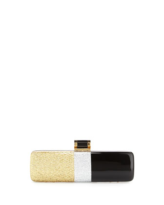 Elongated Acetate Clutch Bag, Gold/Silver Multi
