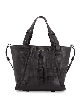 Liza Python-Embossed Leather Tote Bag, Black