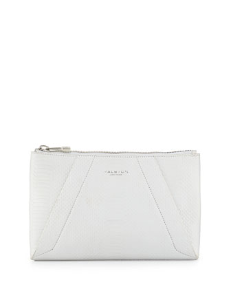Liza Python-Embossed Clutch Bag, White
