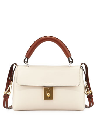 Fedora Calfskin Satchel Bag, Off White