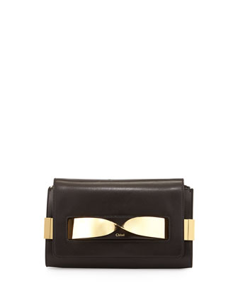 Elle Medium Chain Clutch Bag, Black
