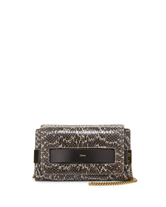 Elle Medium Snake Clutch Bag, Light Gray