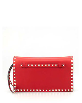 Rockstud Flap Wristlet Clutch Bag, Red (Rosso)