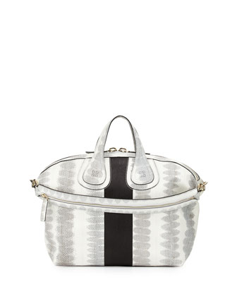 Nightingale Medium Ayers Bag, White/Black