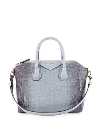 Antigona Small Crocodile Bag, Gray