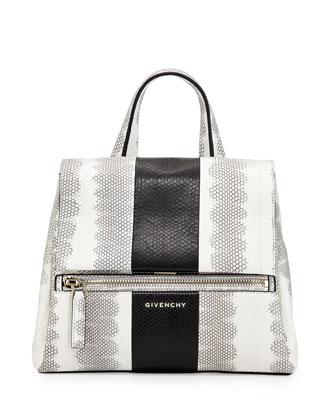 Pandora Small Watersnake Satchel Bag, White/Black