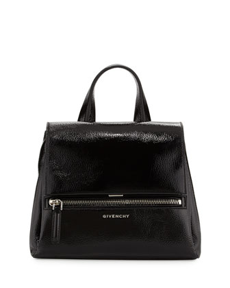 Pandora Pure Small Patent Leather Satchel Bag, Black