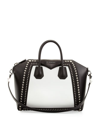 Antigona Medium Satchel Bag w/Studs, Black/White