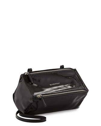 Pandora Mini Patent Leather Crossbody Bag, Black