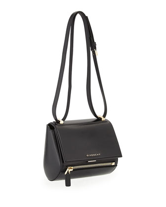 Mini Pandora Leather Box Bag, Black