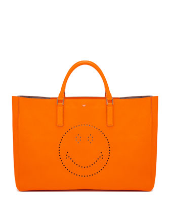 Ebury Maxi Smile Tote Bag, Neon Orange