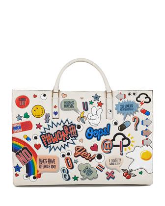 Ebury Sticker-Print Leather Tote Bag