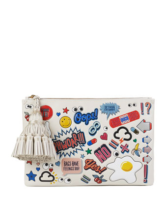 Georgiana Sticker-Print Zip Clutch Bag