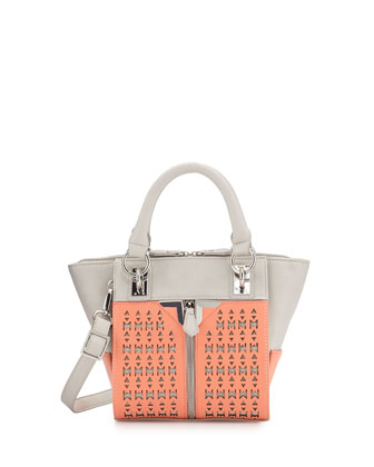 Alexa Mini Crossbody Satchel Bag, Salmon/Gray