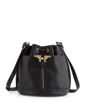 Alexa Faux-Leather Bucket Bag, Black
