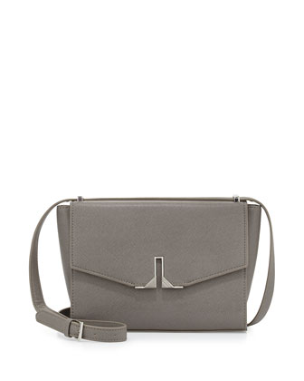 Milana Saffiano Crossbody Bag, Gray