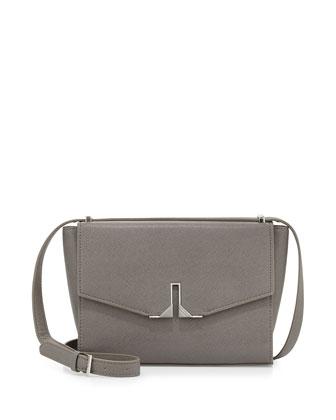 Milana Saffiano Crossbody Bag, Gray