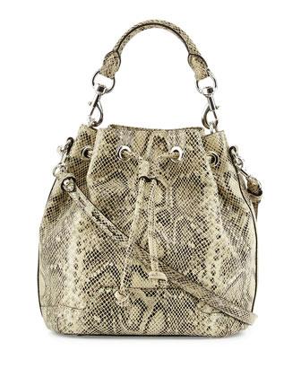 Fiona Snake-Embossed Bucket Bag, Multi