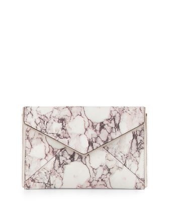 Marble-Print Envelope Clutch Bag