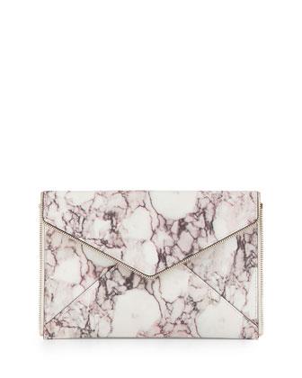 Marble-Print Envelope Clutch Bag