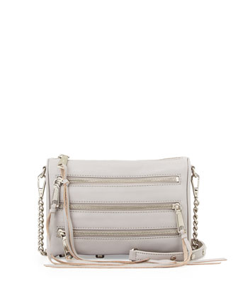 Five-Zip Mini Crossbody Bag, Light Grey